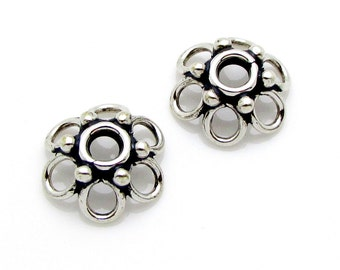 2 Pcs, 10mm, Sterling Silver Bead Caps