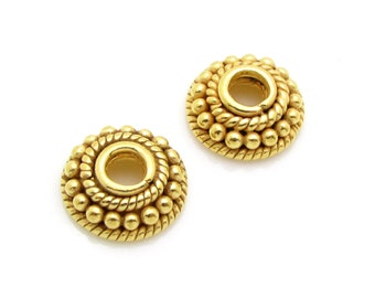 2 Pcs, 10mm, 24k Gold Vermeil Bead Caps