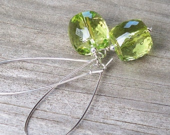 Multifaceted Light Green Earrings Olive Green Earrings Green Barrel Shape Beaded Silver Dangle Kidney Hoop Earrings