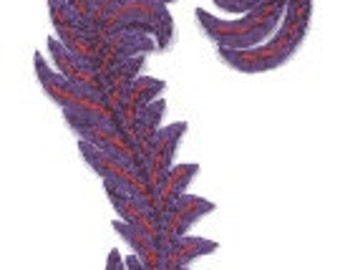 FEATHER PURPLE and RED transfer, applique, Feather patch Feathers Iron or Sew Iron On Patch by Cedar Creek Patch Shop