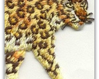 LEOPARD Wildlife Iron On Patch or sew on Looks Real