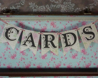 Wedding Cards Bunting, Cards Bunting, Wedding Bunting, Wedding Signs, Flag Bunting, Photo Prop Signs, Reception Sign, Reception Bunting