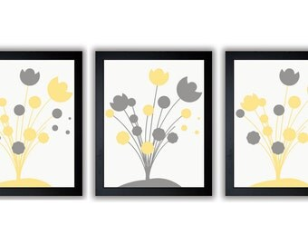 INSTANT DOWNLOAD Yellow and Grey Printable Abstract Art Flower Print Wall Decor Modern Minimalist Bathroom Bedroom