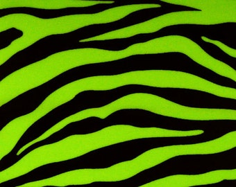 5 Yard/5 Meter Cut Stretch Fabric Stretch Fabric - Neon Lime Zebra Print Animal Print Fabric Stretch Spandex Fabric Item#RXPN-ZCNG110706-5