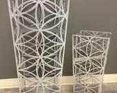 Medium Steel Metal Flower of Life Geometric Pattern  Planter 10.5 x 10.5 x 24h