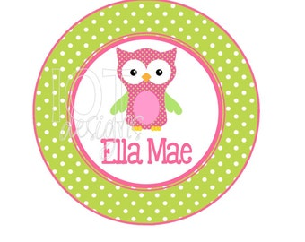 Personalzied IRON ON TRANSFER -Personalized - owl - girl - Initial - Photo Prop - Iron on Transfer for and Shirts - P002