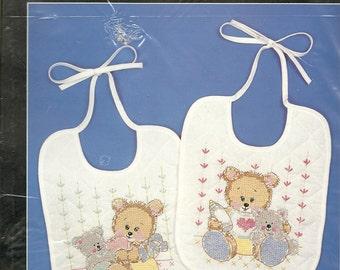 Bucilla:  Sweetheart Bear Bibs Kit