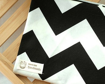"Cotton Fabric 2"" (5cm) Black & White Chevron By The Yard"