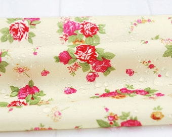 Waterproof Fabric Rose on Ivory By The Yard