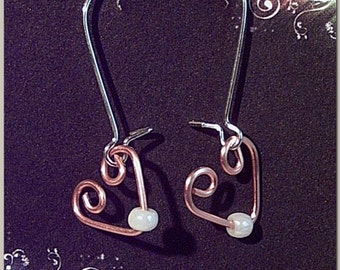 Small Hearts with Pearl Like Bead Minimalist Dangle Earrings Copper and Silver