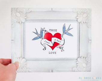 True Love Vintage Tattoo Print - Personalised, Couple, Names, Date, Engagement, Wedding, Anniversary, Heart, Love, Swallows, Scroll, Gift