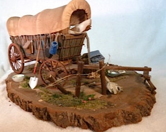Conestoga Wagon getting ready for the trip west dollhouse miniature 1/12 scale one of a kind.