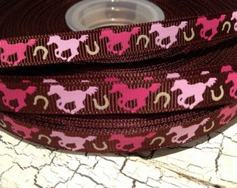 "3 yards 3/8"" Horse Shades of Pink On Brown Western Grosgrain Ribbon sold by the yard"