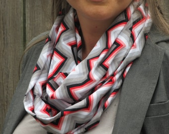Mother's day gift Infinity scarf chevron zigzag red gray white stripes scarf - gray and red jersey knit snood scarf circle scarf loop scarf