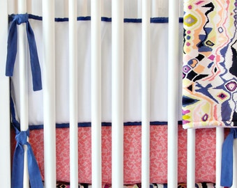 20% OFF SALE!!- Ikat Coral Modern Designer Baby Bedding- Bumpers ONLY!!
