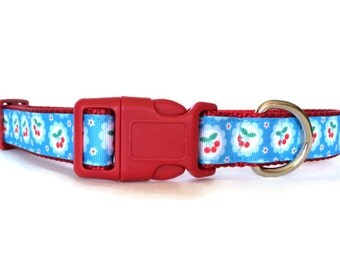 Blue and Red Cherry Dog Collar - Adjustable, Cherries, Retro, Girl Dog