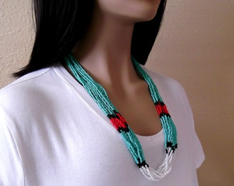 Turquoise Red and White Seed Bead 10 Strand Necklace, Native American, Southwestern Country Western Wear, Cowgirl Boho Jewelry, ID 172728060