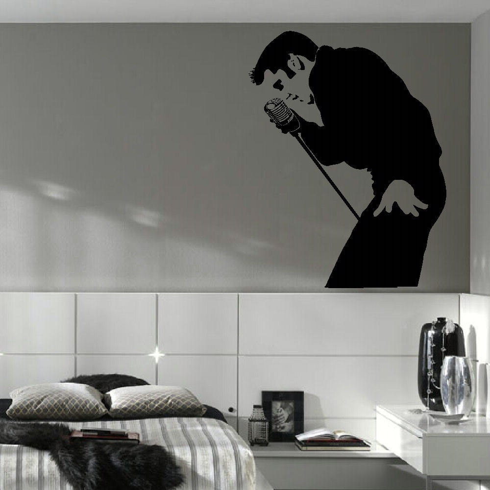 elvis presley large bedroom wall mural art sticker stencil. Black Bedroom Furniture Sets. Home Design Ideas
