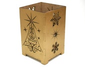 Laser Cut Gold Christmas Tree Candle Holder, Shadowbox, with Snowflakes - PPointCreates