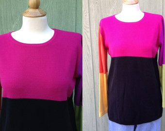 1990s Emma James (Liz Claiborne) Multicolored woman's acrylic/cotton blend long sleeved sweater, Size M