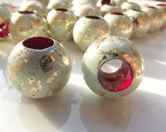 6 pcs Large Hole Verdigris Beads , Vintage German Beads ,  18x20 mm , Lucite Beads  -bk108