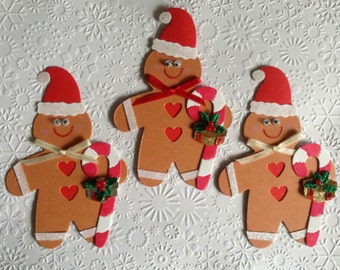 3 luxury handmade Ginger bread Men with candy canes Card toppers for christmas cards - ready to use cardmaking scrapbooking
