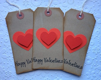 3 large handmade Shabby chic Valentines vintage Gift tags for presents
