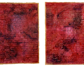 Red Book of Life Paintings- Abstract Collage- Set of Two- Large Wall Art- Hidden Names- Handwritten Names- 15x22- Gold, Magenta
