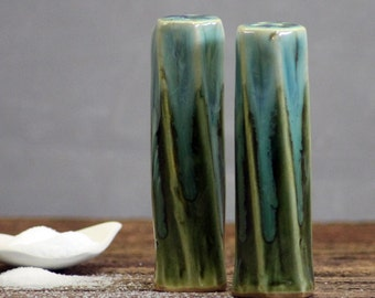 Stoneware pottery Salt and Pepper Shaker set Rainbow Trout Tall