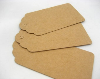 100*Blank Kraft Brown Blank gift tags Pack of Gift Tags Wedding Scallop Labe clothing blank tags