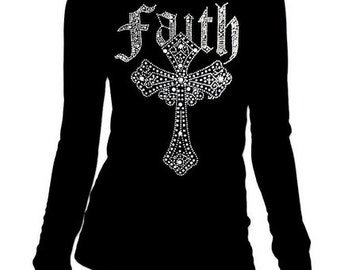 New Junior Rhinestone Faith Cross Round-Neck long sleeve T-Shirt all size S-3XL Bling Bling