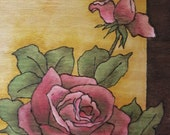 """Rose painting wood pyrography woodburning water based 8""""x11.75"""" roses buds"""