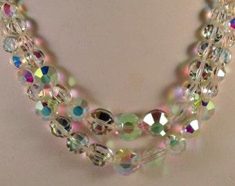 "Vintage Double Strand Swarovski  AB Crystal Necklace Signed ""Exquisite"""