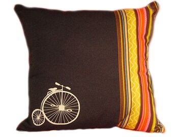 Handmade Bicycle Throw Pillow