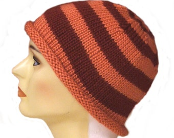 Striped Roll Up Brim Hat - Striped Hat - Roll Up Brim Hat - Knitted Striped Cap - Wool hat - Acrylic hat - Orange Hat