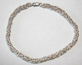 Handmade Sterling Silver Chain Maille Chainmaille Bracelet Jens Pind Weave 20 gauge jump rings