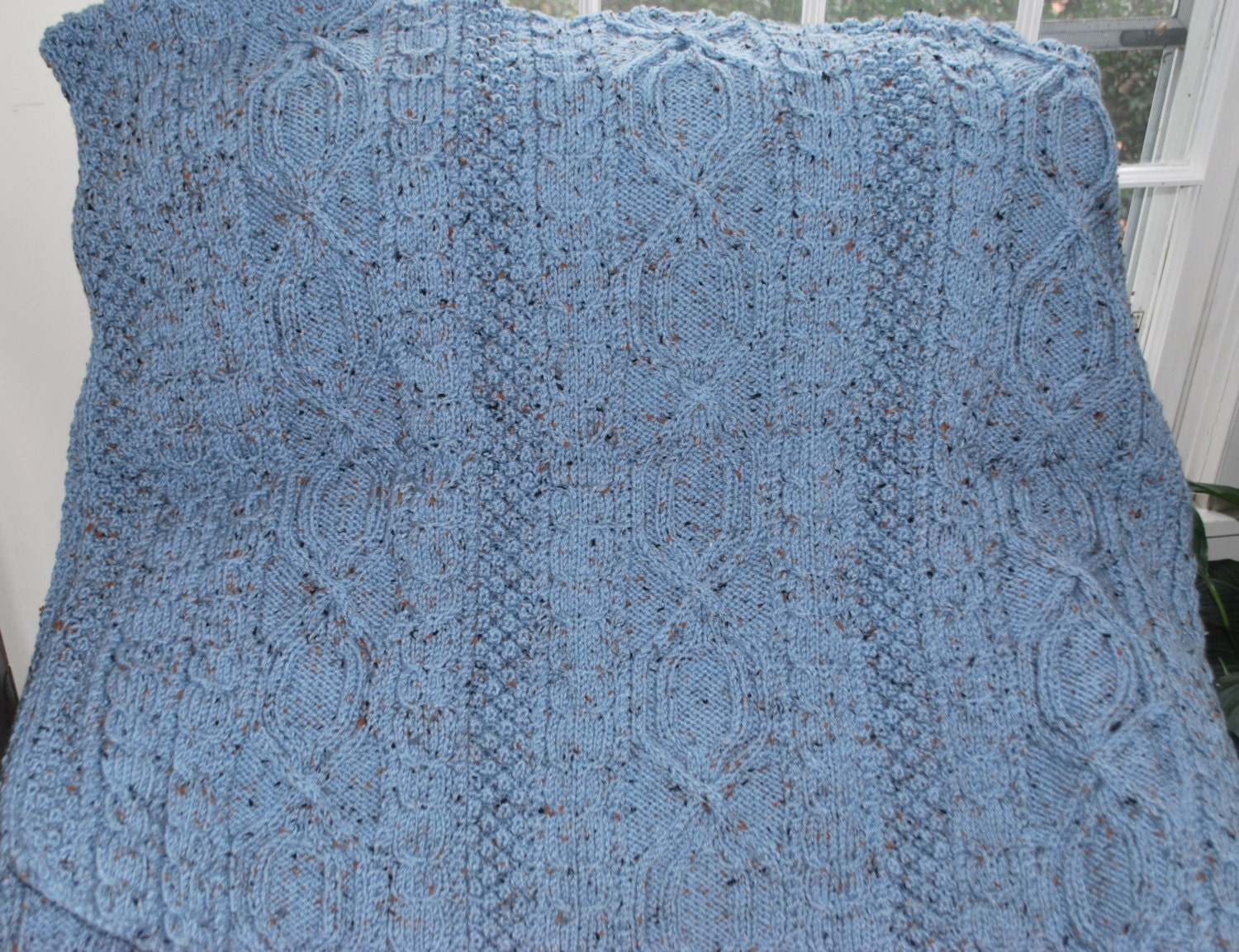 Hand Knit Irish Fisherman Pattern Afghan Blue