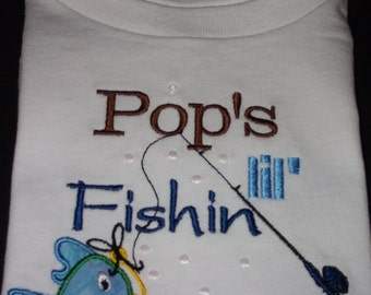 Pop's little fishin Buddy shirt for boys or girls, personalized with name in your choice of colors, embroidered and applique