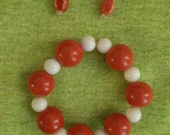 Orange Bracelet and Earring set with Swarovski Elements