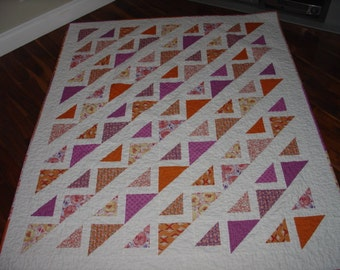 Modern orange and purple lap quilt