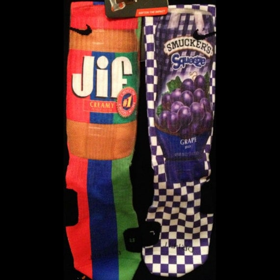 peanut butter and jelly custom nike elite socks by