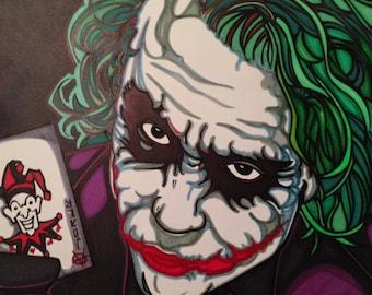 Heath Ledger Joker Marker Print 11 x 14 in