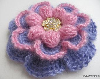 CROCHET FLOWER BROOCH, Mohair Pink Lavender Flower Brooch, Crochet Gifts For Her, Winter Flowers, Handmade Crochet For Sale, Lyubava Crochet
