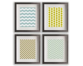 Background Pattern Art Prints - set of four modern art prints, gift idea, gallery wall, wall decor, living room, dining room decor, bedroom