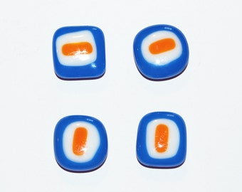 4 Handmade Orange Bullseye Fused Glass Magnets