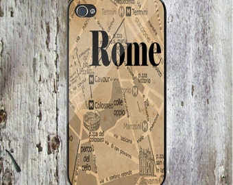 Rome Italy City Map Personalized Phone Case iPhone 4 iPhone 4S iPhone 5 iPhone 5S iPhone 5C iPod Samsung