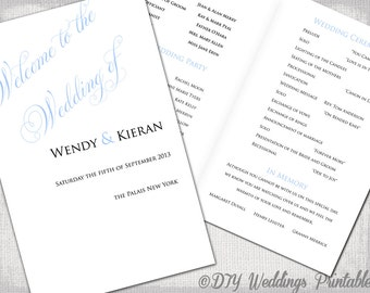 "Wedding program template light Blue DIY printable order of ceremony booklet - Script ""Parfumerie"" YOU EDIT instant download order of service"