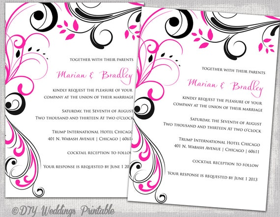 Red And Black Wedding Invitations Templates: Wedding Invitation Templates Black And Hot Pink