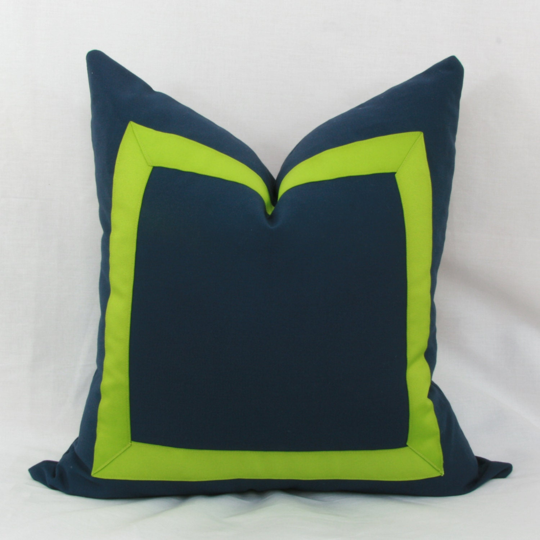 Navy Blue And Green Throw Pillows : Navy blue & lime green border decorative throw pillow.