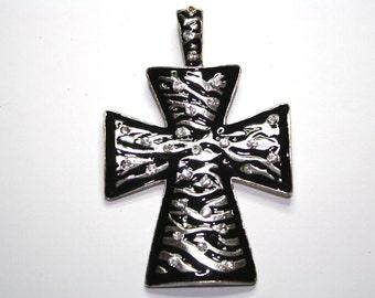 Large Silver Cross pendant, Silver And Black Zebra pendant 52x78 mm with rhinestones - 1ct - #193